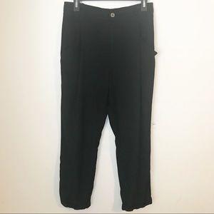 Zara Trafaluc High Waist Black Ankle Cuffed Pants